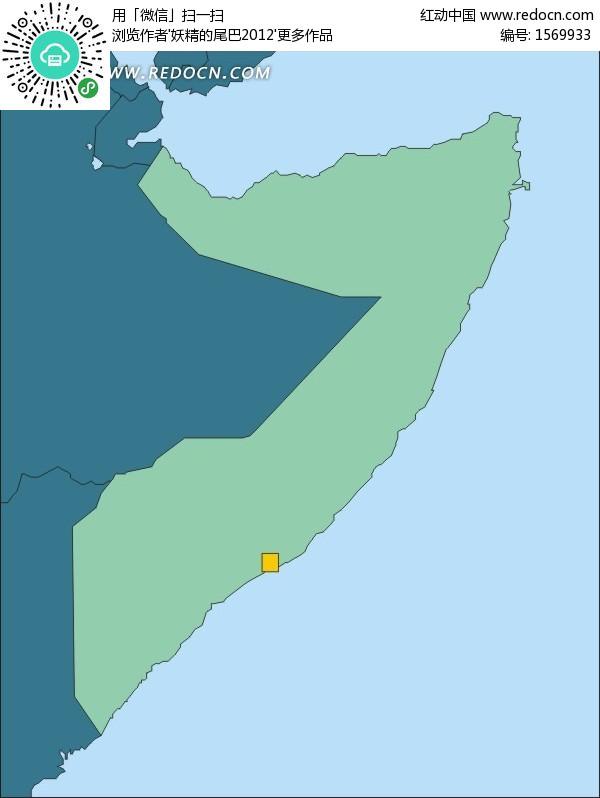摩加迪沙 索马里地图 非洲国家 手绘地图 版图 矢量素材  办公用品 生