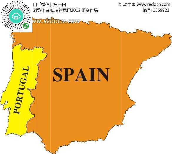 暖色调西班牙和葡萄牙矢量地图