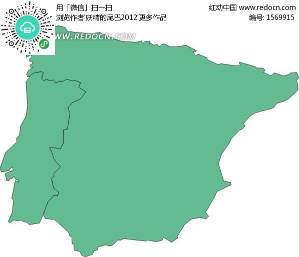 西班牙地图 葡萄牙地图 欧洲国家 手绘地图 版图 矢量素材  办公用品