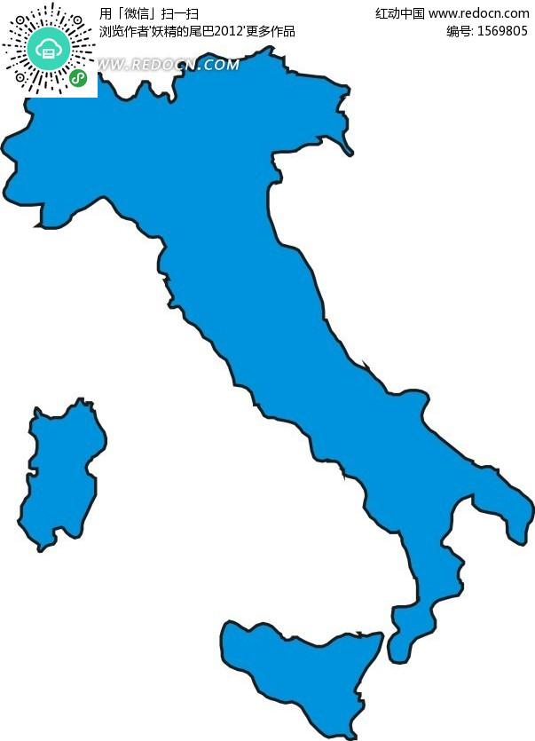 意大利蓝色矢量地图