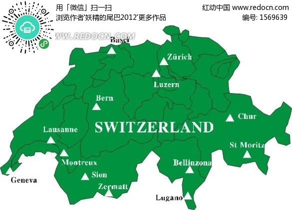 瑞士绿色矢量地图矢量图