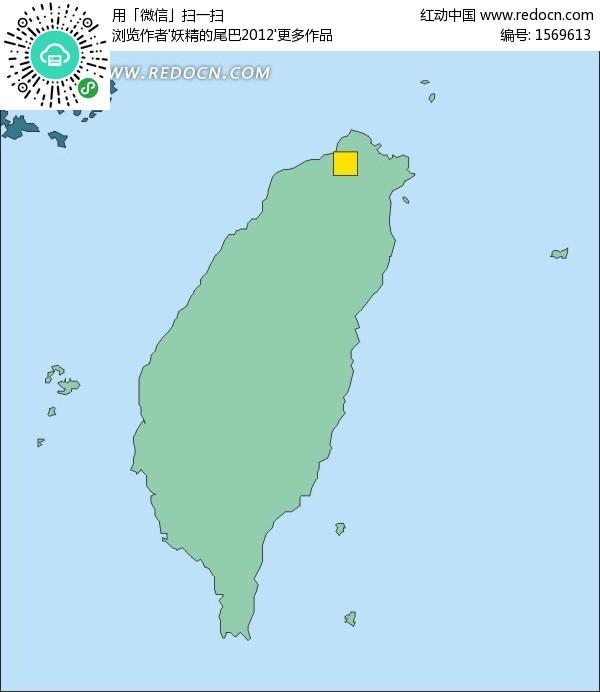 台湾绿色矢量地图矢量图