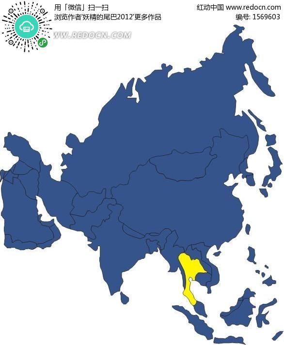 亚洲地图中的泰国矢量地图