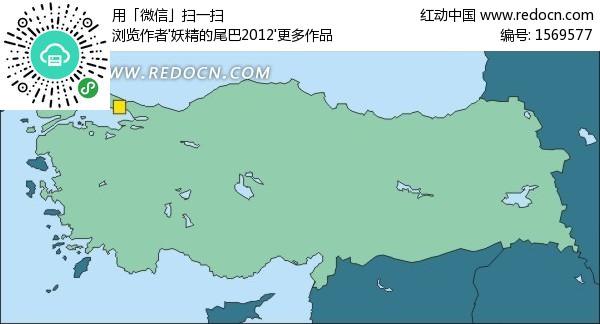 绿色土耳其矢量地图