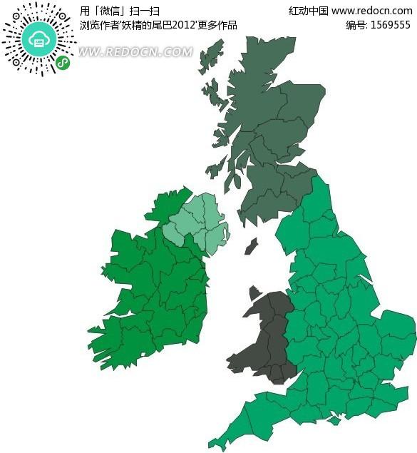 英国地图 爱尔兰地图 欧洲地图 世界地图 手绘地图 版图 矢量素材