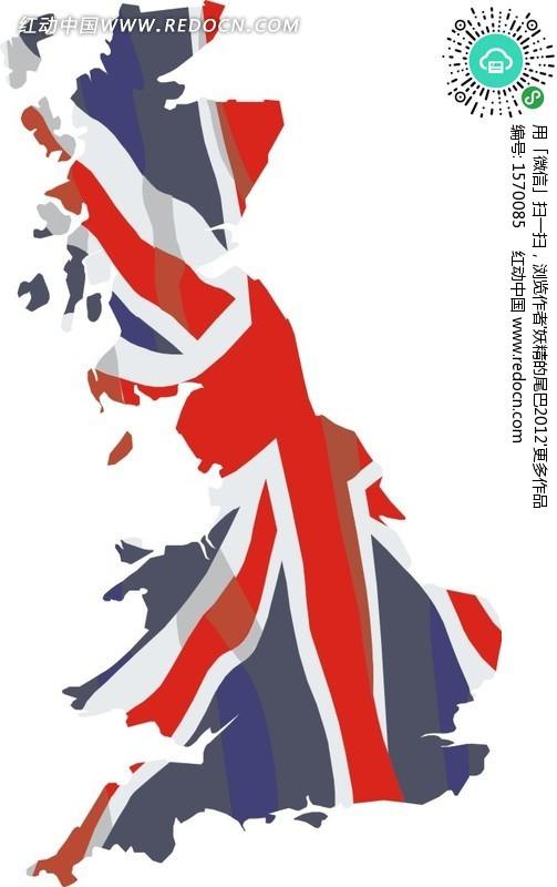 画着英国国旗的英国矢量地图