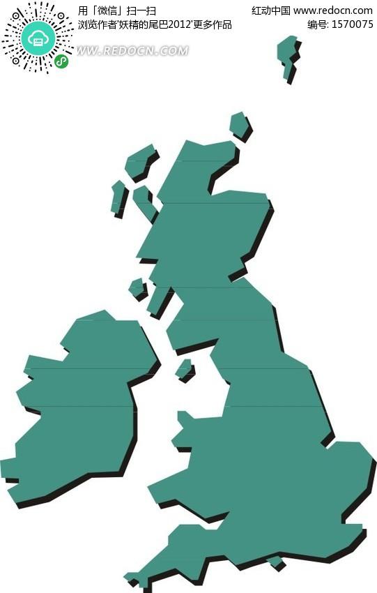 绿色英国和爱尔兰矢量地图板块