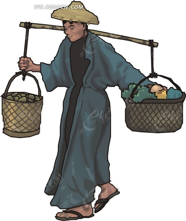 手绘挑担的古代日本人