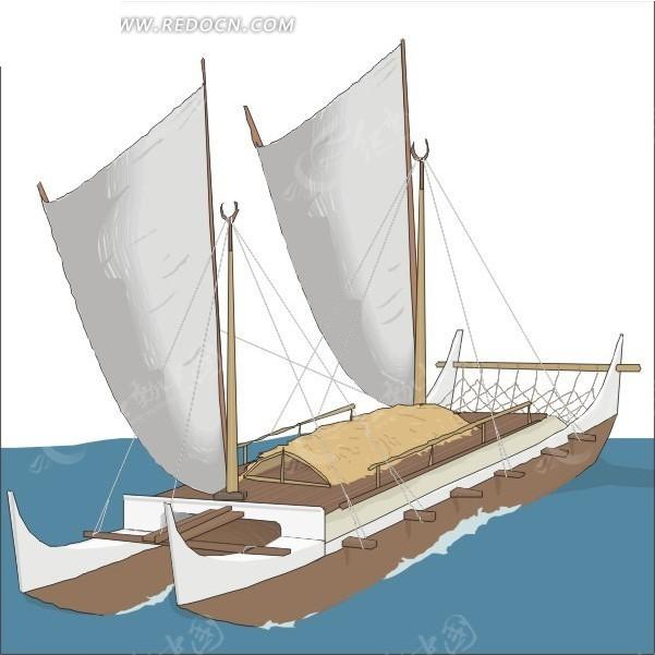 海面 帆船 卡通画 手绘 插画 矢量素材