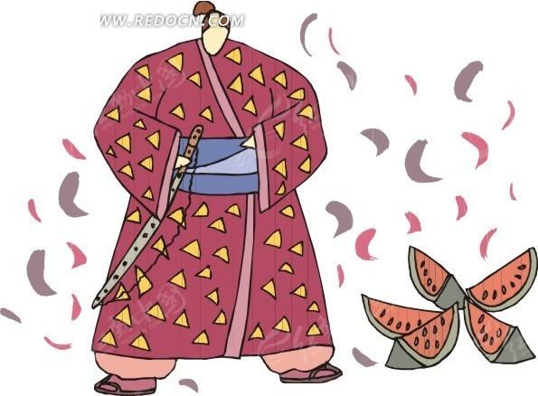 手绘穿和服的日本人和西瓜矢量图