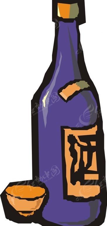 手绘蓝色酒瓶和橙色酒杯