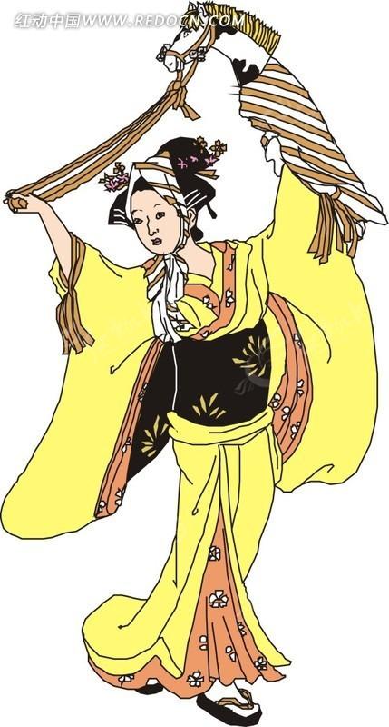 色情七七_身穿黄色和服舞蹈的日本女子