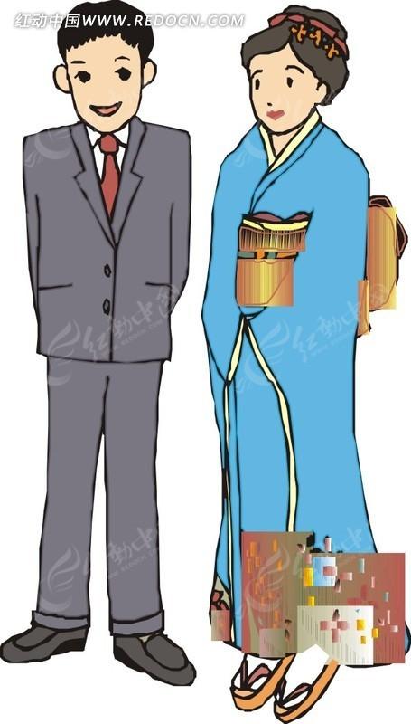 手绘日本男女