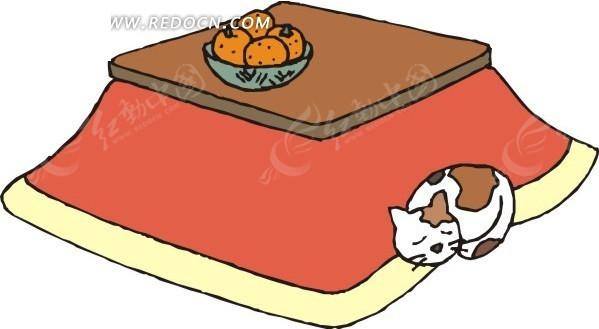 趴在桌子旁边睡觉的小花猫矢量图矢量图