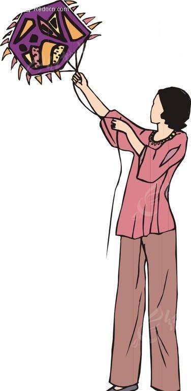 风筝 女人 放风筝 卡通人物