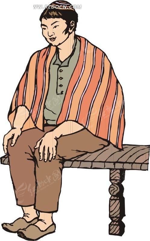 手绘披着披肩坐在凳子上的人