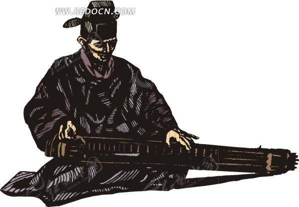 手绘正在弹琴的古代男子