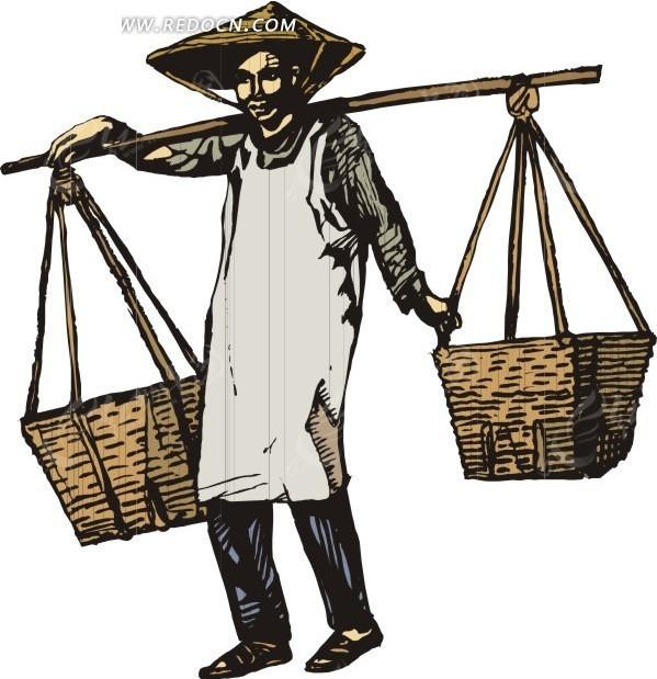 手绘戴着帽子挑着担子的古代男子eps素材免费下载_红