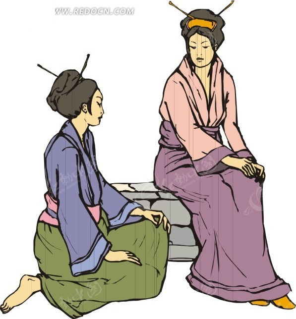 手绘坐着聊天的日本古代女子