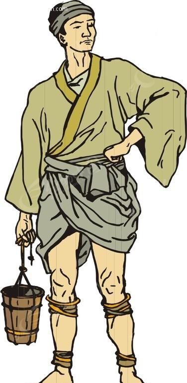 手绘提着木桶的古代男子