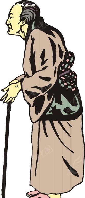 手绘拄着拐杖的古代日本妇女EPS素材免费下载 编号1571473 红动网