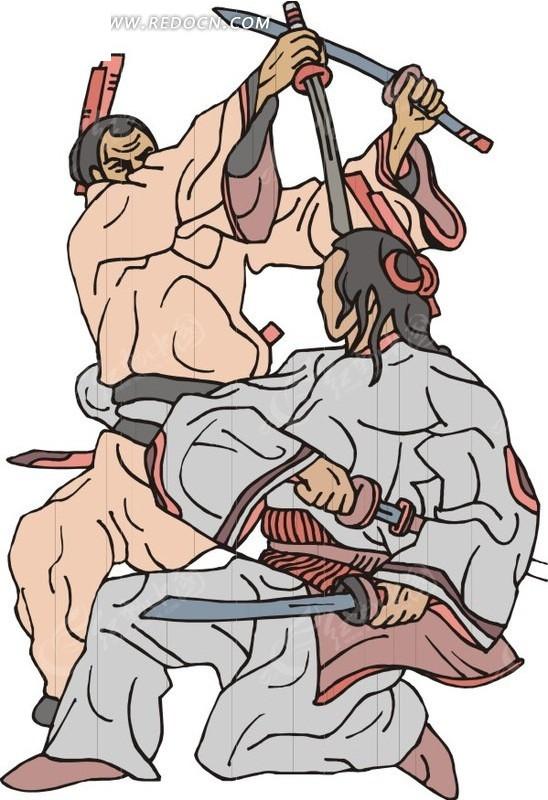 手绘正在搏斗的古代日本武士矢量图