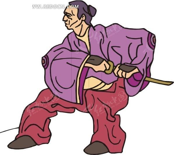 手绘拔刀的古代日本武士