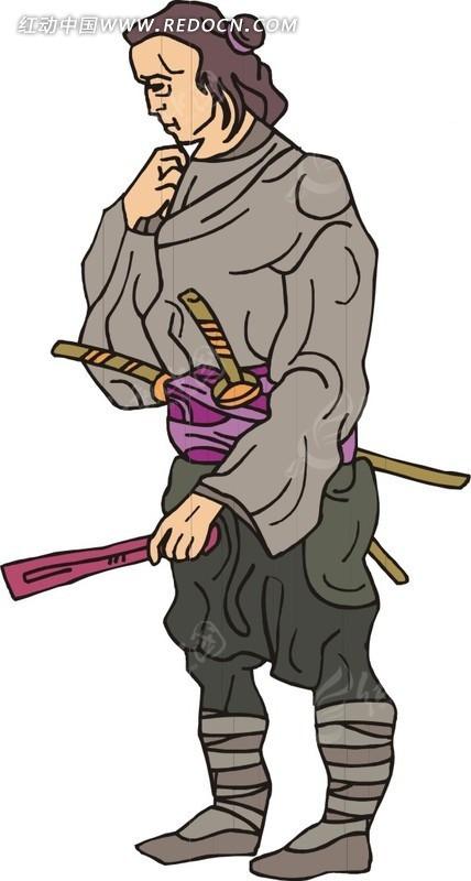 手绘用手托着下巴思考的古代日本男子