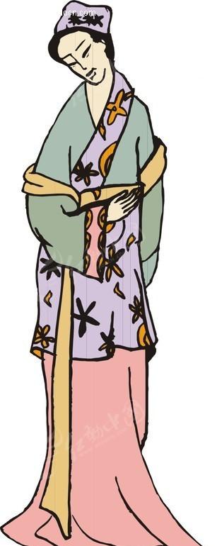 手绘抬起右臂的古代女子eps素材免费下载(编号1571387