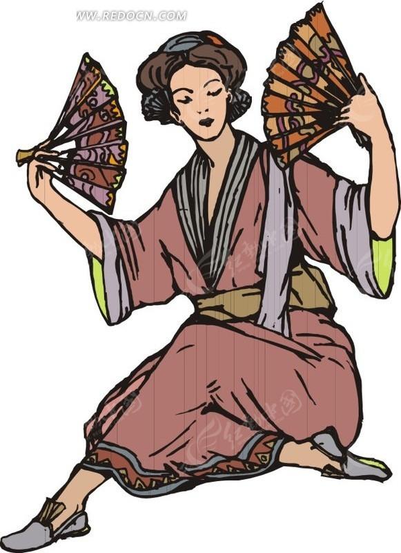 手绘拿着扇子坐在地上跳舞的古代日本女子