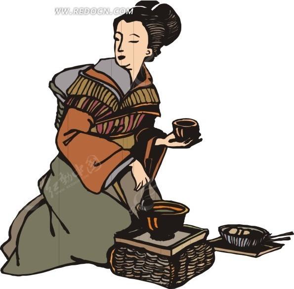手绘正在盛饭的古代日本女子