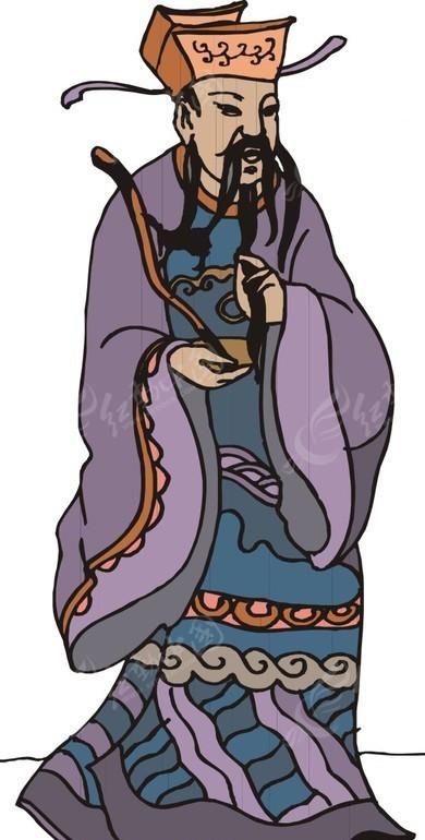 手绘拿着玉如意的古代官员