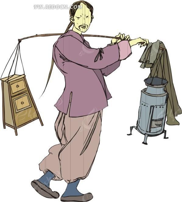 手绘挑着担子的古代男子