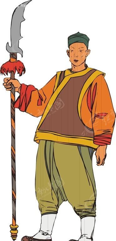 手绘握着长刀的古代男子