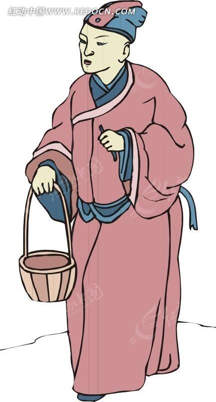 手绘提着篮子的古代男子
