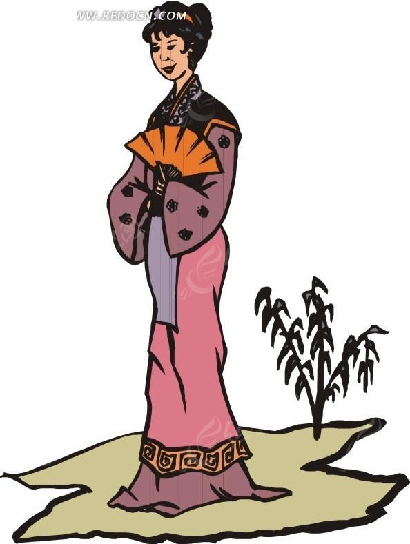 扇子 胸口 古代女子 女人 小树 卡通画 插画 手绘 矢量素材