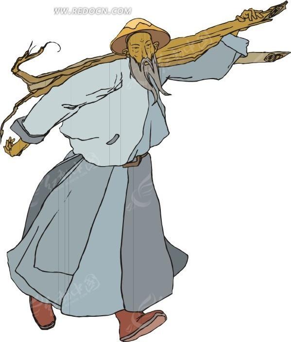 手绘扛着木头的古代日本男子