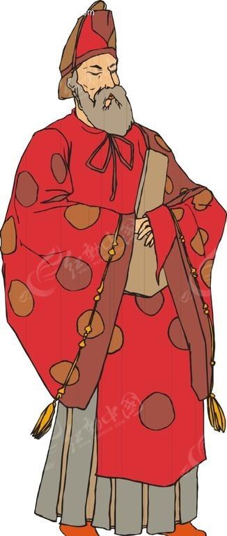 手绘穿红色和服的日本男子