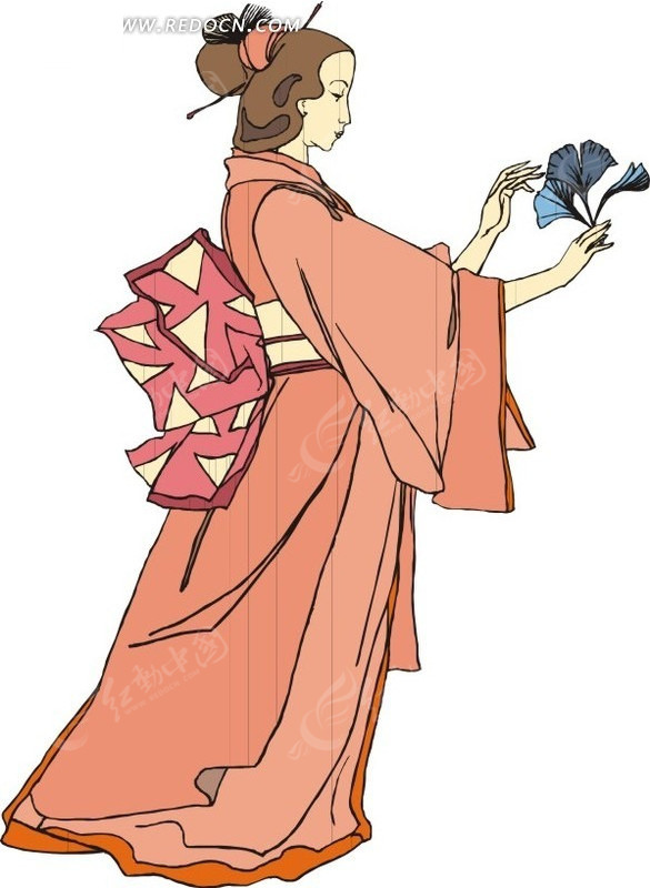 手绘拿着叶子的古代日本女子
