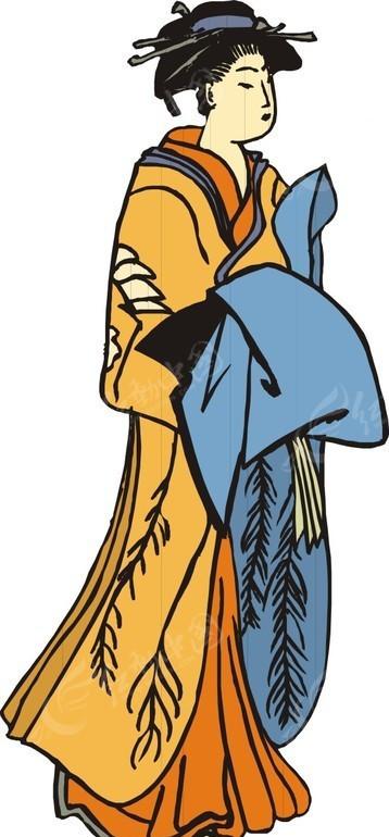 手绘拿着蓝色布料的古代日本女子矢量图