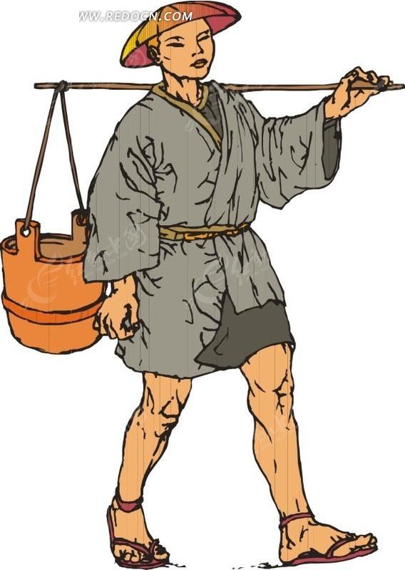 挑着水桶的手绘日本和尚