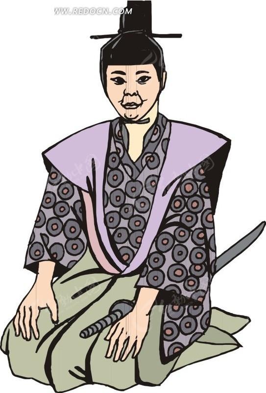跪坐着的手绘日本古代官员
