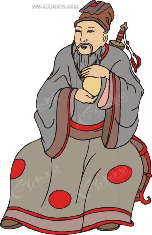 坐着的手绘古代男子