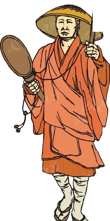 穿着橙色僧服的手绘日本和尚