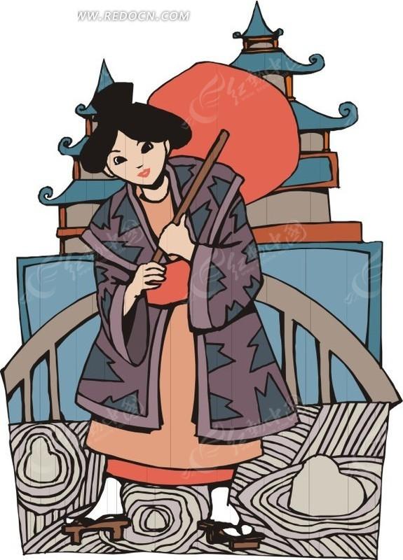 日本和服手绘素材