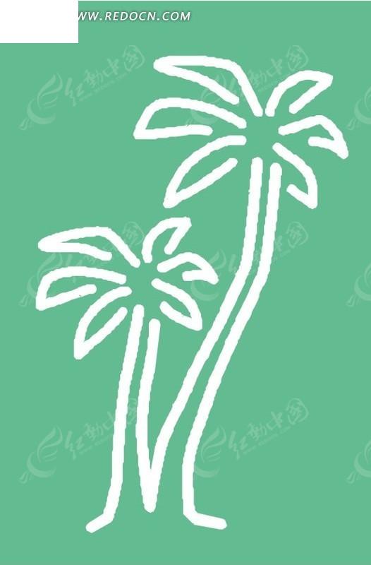 手绘绿色背景上的白色椰子树