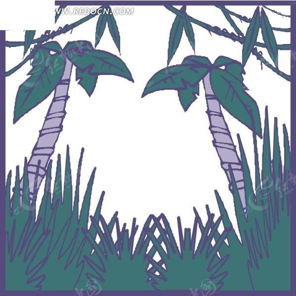 手绘草地上的椰子树矢量图