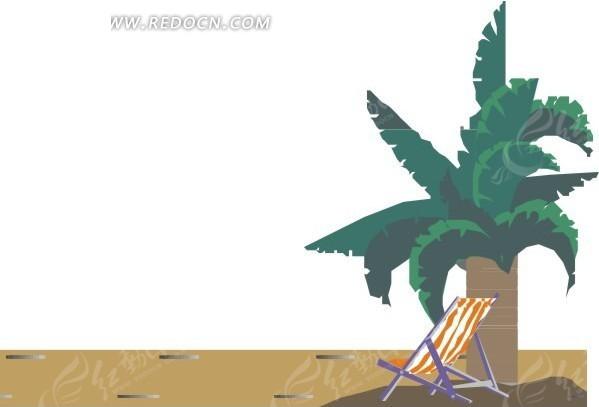 椰子树 椅子 沙滩 卡通画 插画 手绘 矢量素材 风景图片 自然风光