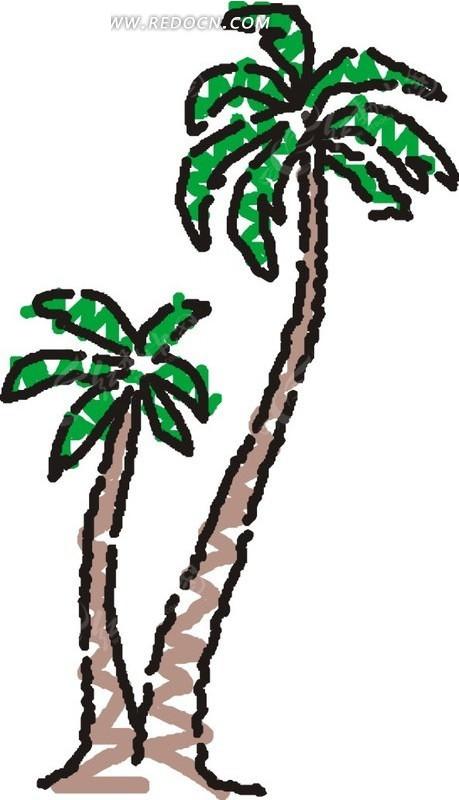 手绘大小椰子树