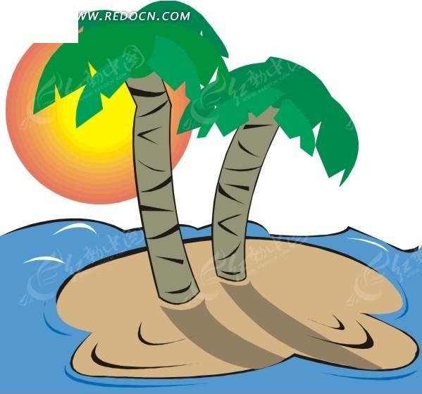 手绘夕阳下小岛上的椰子树